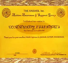 Certificate of Award from the Answer Inc.